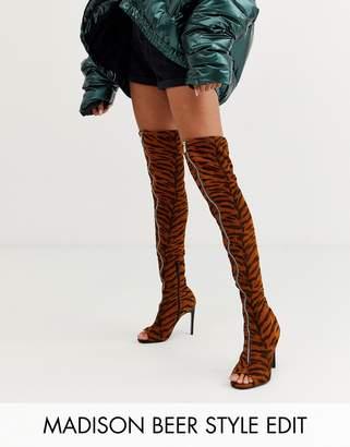 Kyoko Asos Design ASOS DESIGN peep toe thigh high boots in tiger