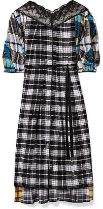 Marc Jacobs Lace-paneled Plaid Silk-voile Midi Dress - Black