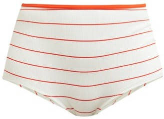 Solid & Striped The Brigitte Striped Bikini Briefs - Womens - White Stripe