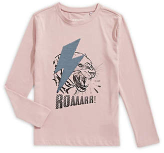 MANGUUN Long-Sleeve Sequin And Graphic Tee