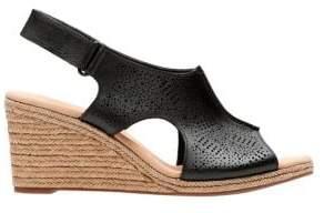 Clarks Lafley Rosen Leather Slingback Wedge Espadrilles
