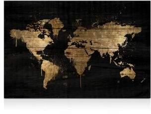 """Oliver Gal Mapamundi Gold Wall Art, 24"""" x 16"""""""