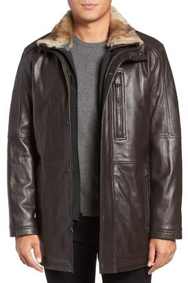 Andrew Marc Middlebury Leather Car Coat w/ Genuine Rabbit Fur Trim