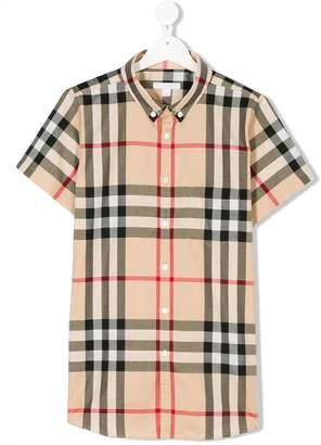 Burberry Teen Short-sleeve Check Cotton Twill Shirt