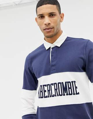 Abercrombie & Fitch logo chest panel long sleeve rugby polo in navy