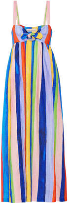 Mara Hoffman - Tie-front Striped Organic Linen Maxi Dress - Blue $425 thestylecure.com