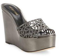 Sergio Rossi Tresor Swarovski Crystal & Metallic Leather Wedge Sandals