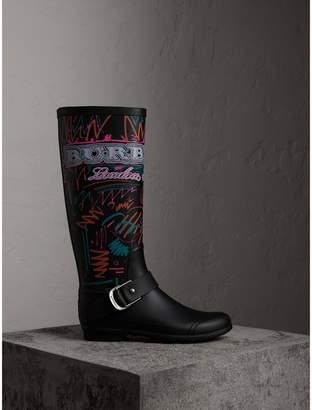 Burberry Doodle Print Rubber Rain Boots