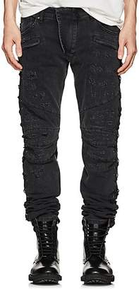 Pierre Balmain MEN'S DISTRESSED SKINNY BIKER JEANS - BLACK SIZE 31