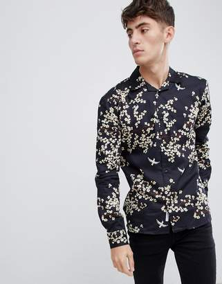 Bellfield Revere Collar Shirt With Blossom Print