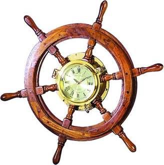 Benzara Wood Brass Shipolystonewheel Clock A Perfect Nautical Wall Decor