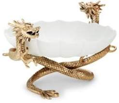 L'OBJET Two-Piece Large Dragon Porcelain Bowl and 24K Goldplated Stand Set