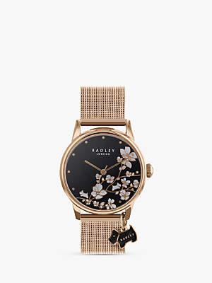 Radley RY4346 Women's Floral Mesh Bracelet Strap Watch, Gold/Black