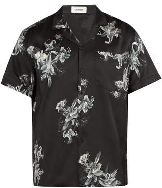 Commas - Floral Print Short Sleeved Silk Blend Shirt - Mens - Black Multi
