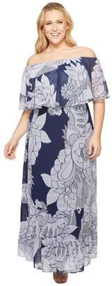 Donna Morgan Plus Size Printed Chiffon Off the Shoulder Maxi Dress Women's Dress