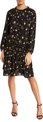 Velvet Leslie Floral-Print Smocked Short Dress
