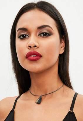 Missguided Black Tassle Necklace