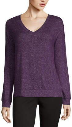 A.N.A Womens V Neck Long Sleeve Knit Blouse