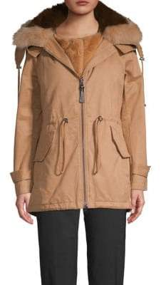 Derek Lam 10 Crosby Anorak 2-in-1 Fox-Fur Collar & Faux-Fur Vest Fishtail Jacket