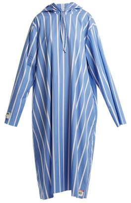 Vetements Oversized Striped Hooded Dress - Womens - Blue White
