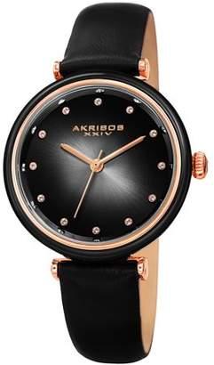 Akribos XXIV Casual Quartz Watch With Leather Strap [AK1035GN]