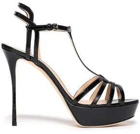 Sergio Rossi Cutout Patent-leather Platform Sandals