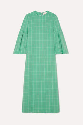Sara Battaglia Checked Crepe Maxi Dress - Green