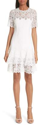 Jonathan Simkhai Mixed Media Lace Mini Tee Dress
