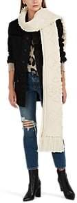Saint Laurent Women's Aran Chunky-Knit Wool Blanket Scarf - Cream