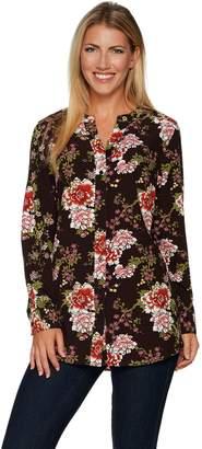 Denim & Co. Regular Floral Printed Button Front Blouse