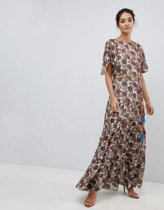 Traffic People Chiffon Printed Belted Maxi Dress