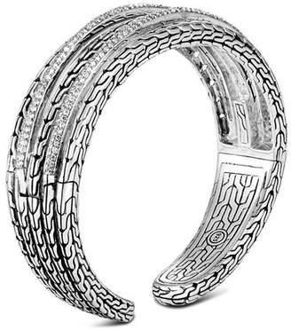 John Hardy Sterling Silver Classic Chain Pavé Diamond Medium Kick Cuff - 100% Exclusive