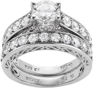 Diamonluxe DiamonLuxe Sterling Silver 3.29-ct. T.W. Simulated Diamond Ring Set