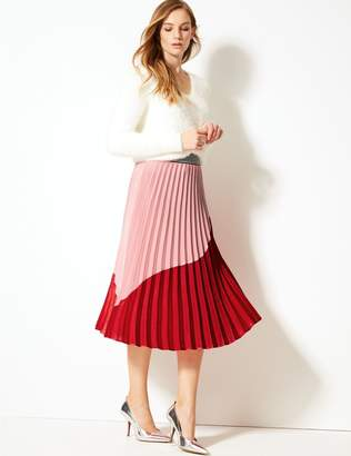 Marks and Spencer Colour Block Pleated Midi Skirt