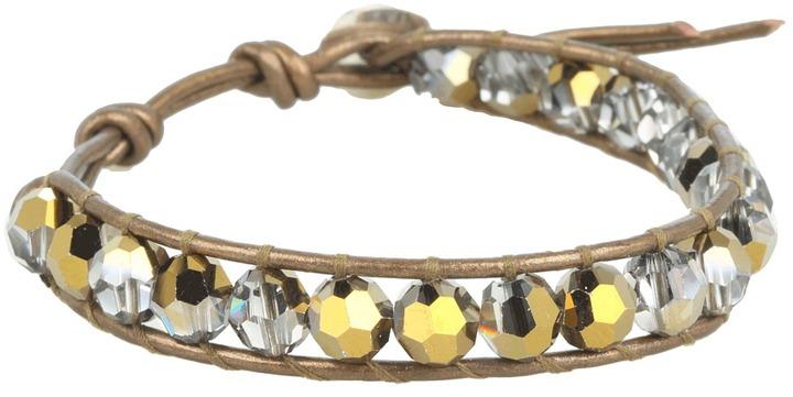 Chan Luu Crystal Black Diamond Single Bracelet On Natural Grey Leather (Crystal Dorado/Kansa) - Jewelry