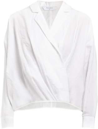 PAISIE - Loose Wrap Blouse With Waist Pleats