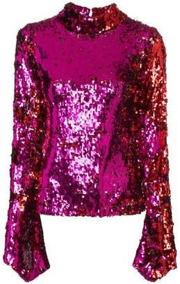 Halpern Sequin Top With Flared Sleeves