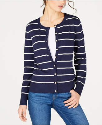 Charter Club Faux-Pearl-Button Striped Cardigan, Created for Macy's