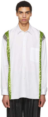 Comme des Garcons White and Green Sequin and Animal Print Shirt