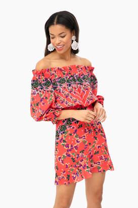 Saloni Peach Grace Mini Dress