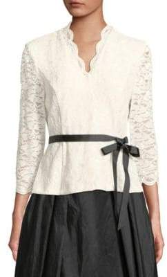 Alex Evenings Glitter Lace Scallop Blouse