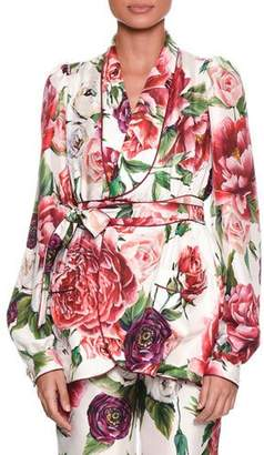 Dolce & Gabbana Long-Sleeve Rose Peony Belted Silk Pajama Top