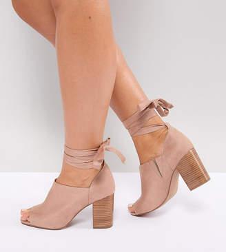 d2ea5884f752 Asos Design OMEN Wide Fit Tie Leg Heeled Shoes