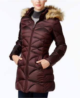 Jones New York Faux-Fur-Trim Quilted Down Puffer Coat $260 thestylecure.com