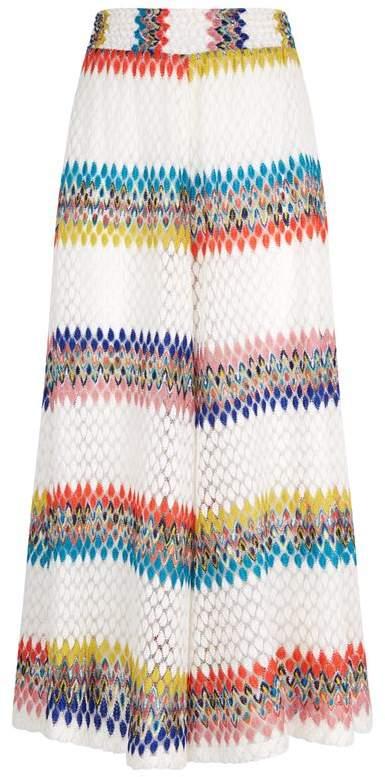 Mare Crochet Knit Wide Leg Trousers