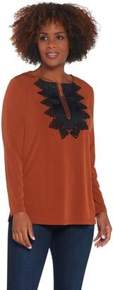 Susan Graver Liquid Knit Split-Neck Tunic with Faux Leather Trim