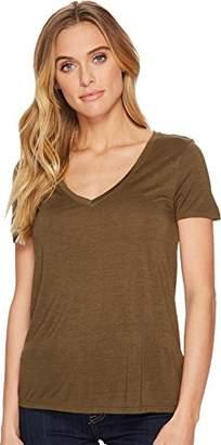 Three Dots Women's Vintage Jersey v-Neck Short Tight Shirt