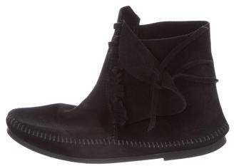 Minnetonka Suede Fringe Ankle Boots