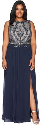 Adrianna Papell Plus Size Sleeveless Bead Bodice Gown Women's Dress