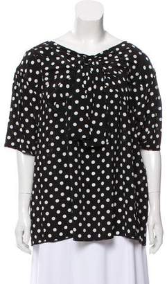 Marc Jacobs Silk Polka Dot Print Top